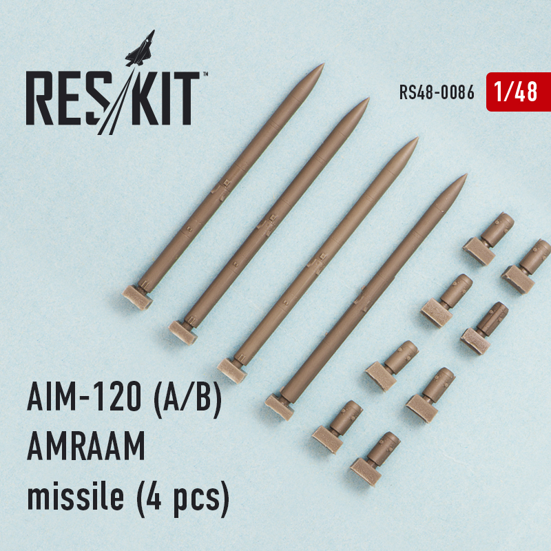 AIM-120 (A/B) AMRAAM missile (4 pcs) (F-15A/C/D/E, F-16A/C, F/A-18A/C)  (1/48)