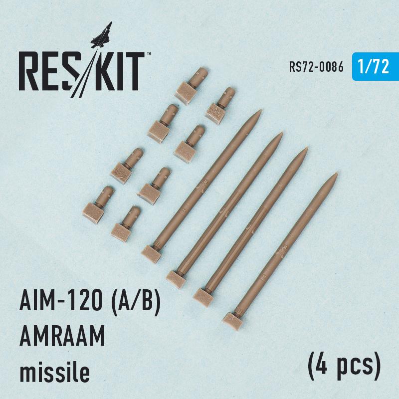 AIM-120 (A/B) AMRAAM missile (4 pcs) (F-15A/C/D/E, F-16A/C, F/A-18A/C)  (1/72)