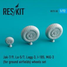 Jak-7/9, La-5/7, Lagg-3, I-185, Mig-3  (для грунтовых аэродромов) смоляные колеса (1/72)