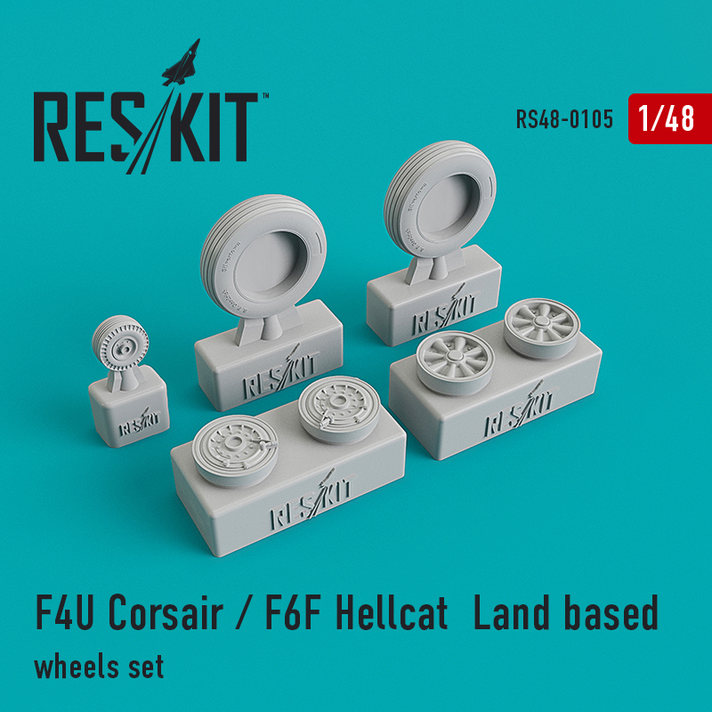 F4U Corsair / F6F Hellcat  Land based  смоляные колеса (1/48)