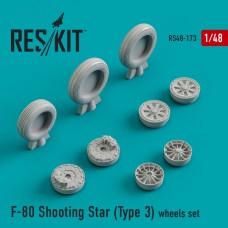 F-80 Shooting Star (Type 3) смоляные колеса (1/48)