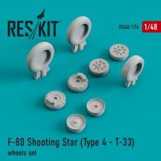 F-80 Shooting Star (Type 4 - Т-33) смоляные колеса (1/48)