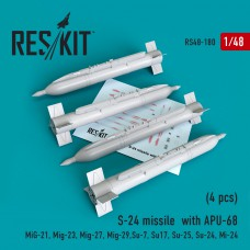 S-24 missile  with APU-68   (4 штуки)   (1/48)