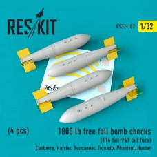 1000 lb free fall bomb checks (114 tail-947 tail fuze)  (4 штуки) (1/32)
