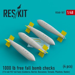 1000 lb free fall bomb checks (114 tail-947 tail fuze)  (4 штуки) (1/48)