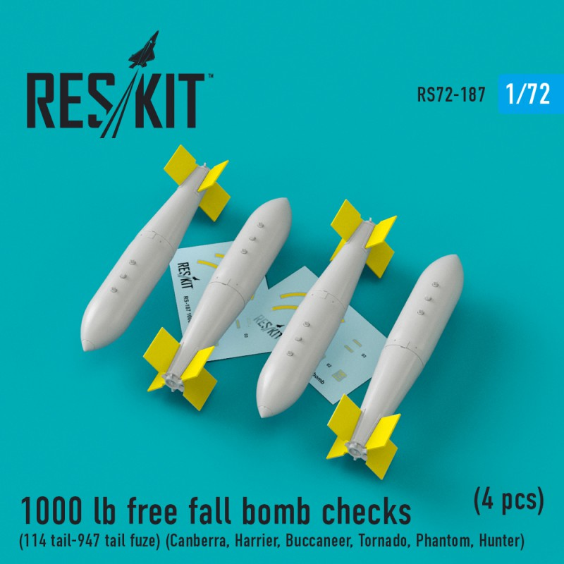 1000 lb free fall bomb checks (114 tail-947 tail fuze)  (4 штуки) (1/72)