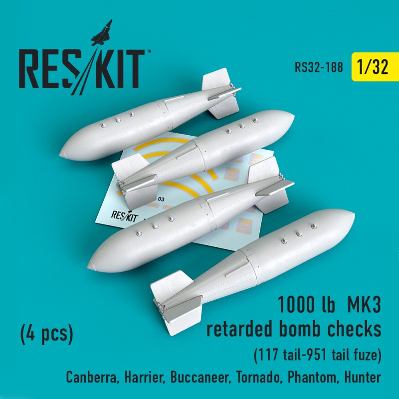 1000 lb retarded bomb checks (117 tail-951 tail fuze) (4 штуки) (1/32)