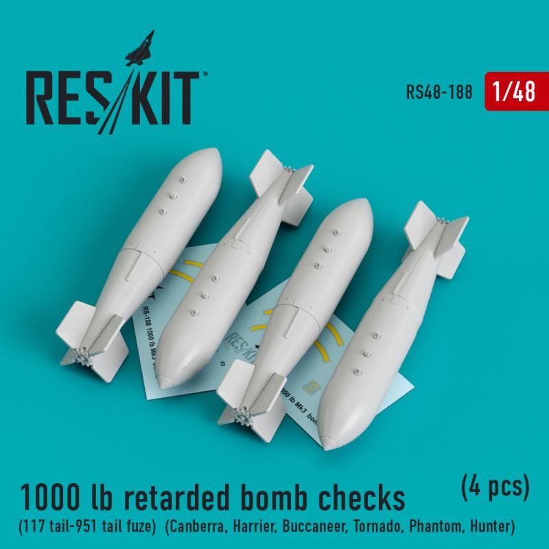 1000 lb retarded bomb checks (117 tail-951 tail fuze) (4 штуки) (1/48)