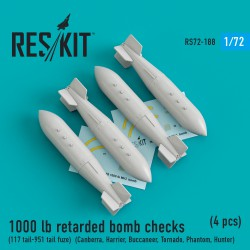 1000 lb retarded bomb checks (117 tail-951 tail fuze) (4 штуки) (1/72)