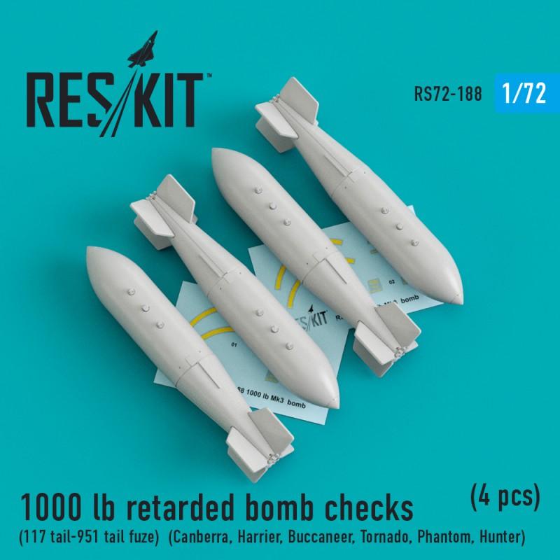 1000 lb retarded bomb checks (117 tail-951 tail fuze) (4 штуки) (1/72)