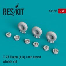 T-28 Trojan (A,B) Land based смоляные колеса (1/48)