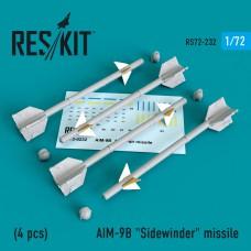 """AIM-9B """"Sidewinder"""" missile (4 штуки)   (1/72)"""