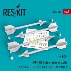 "AIM-9D ""Sidewinder"" missile   (4 штуки)   (1/48)"