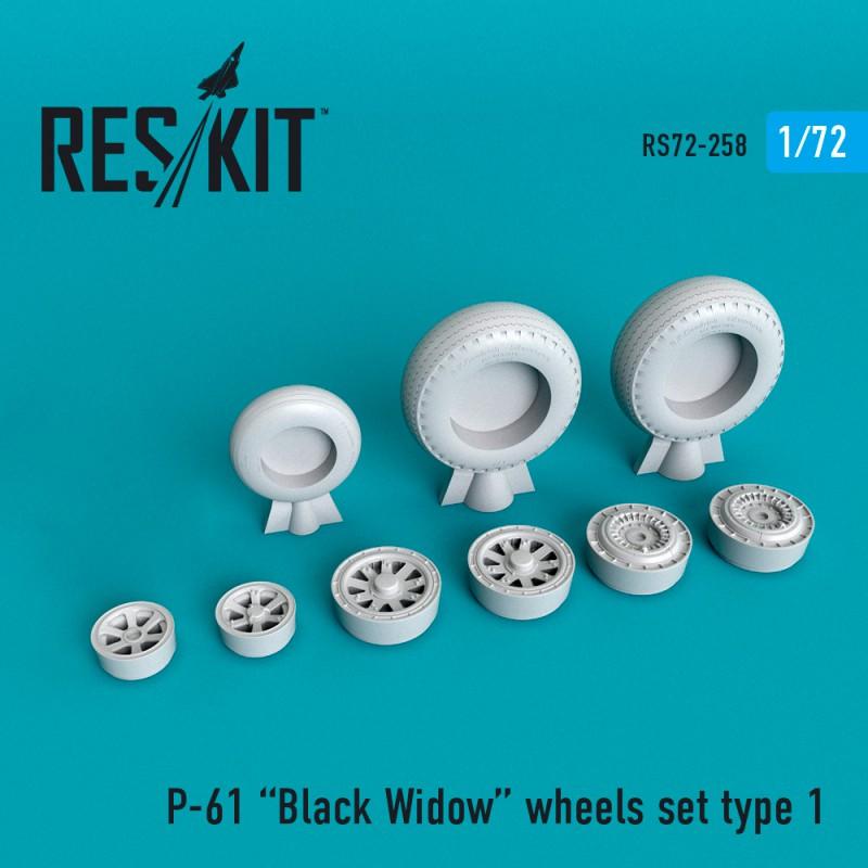 P-61 Black Widow смоляные колеса (1/72)