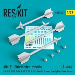 """AIM-9L """"Sidewinder"""" missile (4 штуки)   (1/32)"""