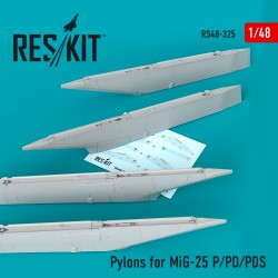 Pylons for MiG-25  P/PD/PDS (4 штуки)  (1/48)