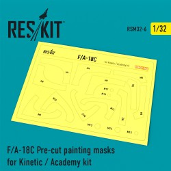 F/A-18C Pre-cut painting masks for Kinetic / Academy kit (1/32)