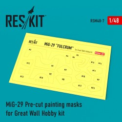 MiG-29 Pre-cut painting masks for Great Wall Hobby kit (1/48)
