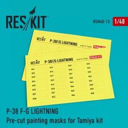 P-38 F/G Lightning Pre-cut painting masks for Tamiya Kit (1/48)
