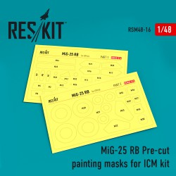 MiG-25 RB Pre-cut painting masks for ICM kit (1/48)