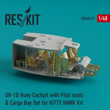 UH-1D Huey Cockpit with Pilot seats & Cargo Bay Set for KITTY HAWK Kit (1/48)