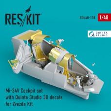 Mi-24 (V) Cockpit set with Quinta Studio 3D decals for Zvezda Kit (1/48)