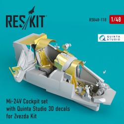 Mi-24 (V) Cockpit set with Quinta Studio 3D decals for Zvezda Kit (1/48)