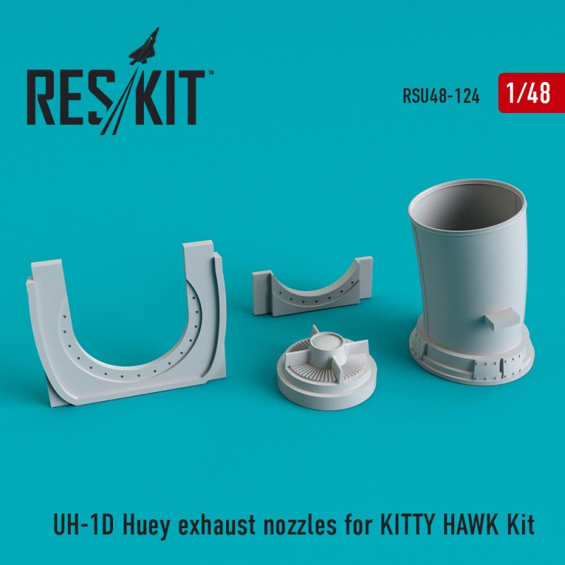 UH-1D Huey exhaust nozzles for  KITTY HAWK Kit (1/48)